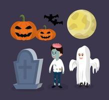 Conjunto de desenhos animados de halloween