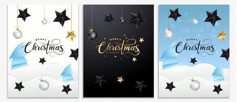 Conjunto de cartazes, convites, cartões ou folhetos de Natal