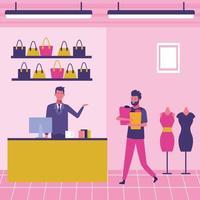 Pessoas no shopping vetor