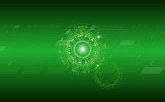 Fundo verde tecnologia com padrões de círculo e linha vetor
