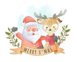 fofo Papai Noel e renas com sinal de Natal