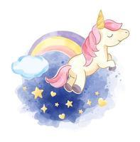 unicórnio fofo no céu noturno com arco-íris