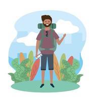 viajar homem nas plantas com mochila e óculos de sol