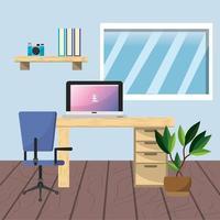 Design do local de trabalho e escritório vetor
