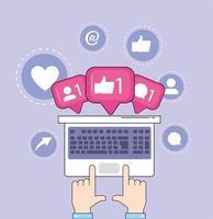 mãos com mensagem de mídia social de bate-papo de computador