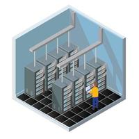 Teste de diagnóstico isométrico em uma sala de computadores servidores vetor