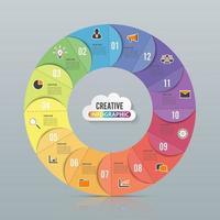 Modelo de infográfico de gráfico de círculo com 12 opções
