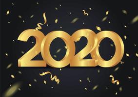 Feliz ano novo 2020 brilhante fundo com confetes