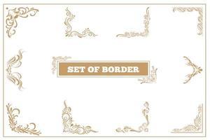 conjunto de quadros vintage e fronteira com filigrana vetor