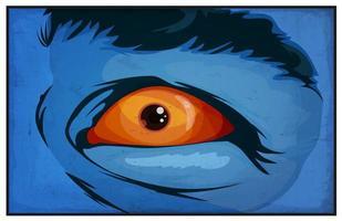 Olhos de super-herói mutante de quadrinhos assustados