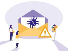 mini pessoas com envelope envelope e ataque de vírus