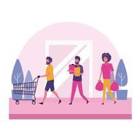 Pessoas no shopping