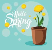 Olá cartão de primavera com lindas flores em pote