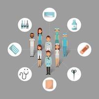 conjunto de pessoas e ferramentas de cuidados de saúde médicos