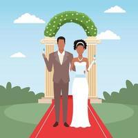 casal de noivos no tapete vermelho