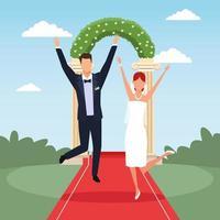 casal de noivos comemorando