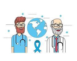 médicos globais com estetoscópio para a saúde dos homens