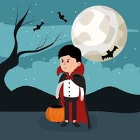 Menino vampiro do dia das bruxas