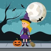 Menina bruxa de halloween vetor