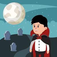 Menino do cemitério de vampiros de Halloween