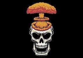 Explosão de cabeça de caveira nuclear vetor