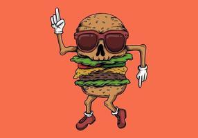 Vetor de dança de hambúrguer de caveira