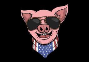 Design de cabeça de porco sorridente vetor
