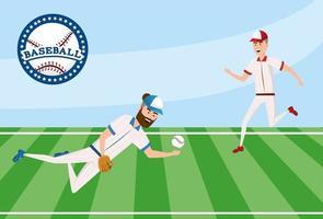 competição de jogador de beisebol no campo com uniforme vetor