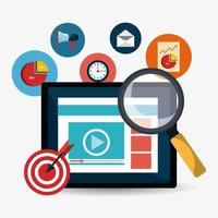 Design de marketing digital com lupa na tela e ícones de negócios