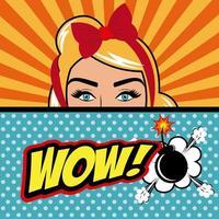 Pop art mulher com texto Wow e bomba