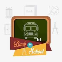 Volta para escola design com ônibus na lousa e ícones de material escolar
