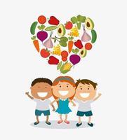 Crianças com coração feito de legumes vetor