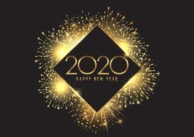Feliz ano novo fundo com design de fogos de artifício dourado vetor