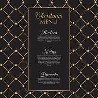 Design de menu de Natal com estrelas douradas vetor
