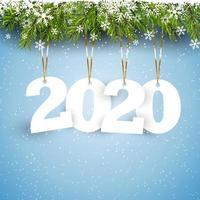 Feliz ano novo fundo com letras de suspensão vetor
