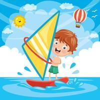 Ilustração de criança windsurf