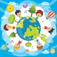 Ilustração de crianças em todo o mundo vetor