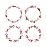 Conjunto de quadros florais redondos