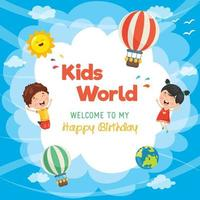 Banner de aniversário de crianças e modelo de cartão vetor