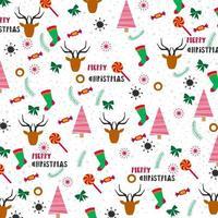 design de fundo de Natal com árvores, meias e renas vetor