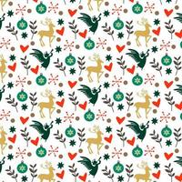 padrão de Natal colorido com corações, veados e anjos vetor