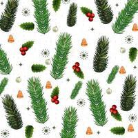 design de padrão de Natal com folhagem vetor