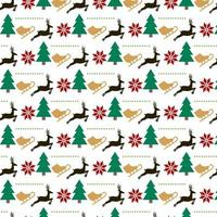 design de padrão de Natal com patins de gelo, árvores e renas vetor