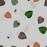 Padrão de folhas tropicais coloridas mão desenhada vetor