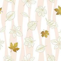 Folhas de outono sem costura padrão no fundo branco estampado vetor