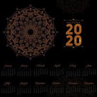 Design de calendário mandala 2020 vetor