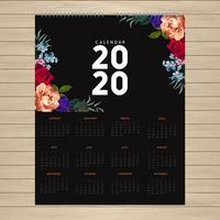 Design de calendário 2020 com flores nos cantos vetor