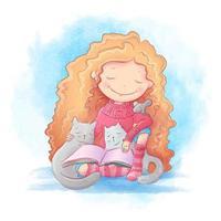 Menina dos desenhos animados, lendo um livro para dois gatos e um rato vetor