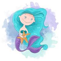 Menina sereia dos desenhos animados em aquarela vetor