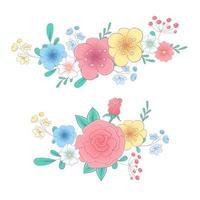 Mão de desenho animado, desenho de conjunto de buquês de flores vetor